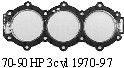 Head gasket only for 1970-97 70-90hp 3 Cylinder Chrysler / Force Outboard Motor part